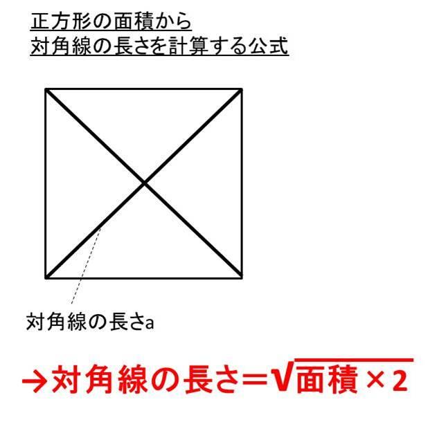 正方形で対角線の長さから面積を計算する方法面積から対角線を