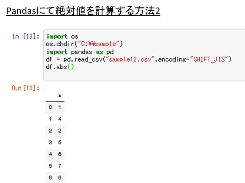 pandasにて列や行の絶対値を計算(変換)し、ソート(sort)をかける ...